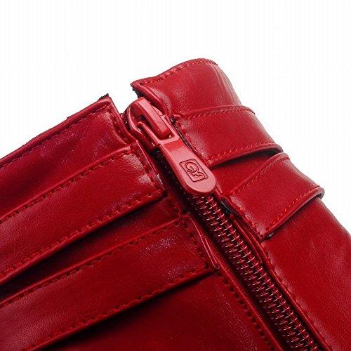 Mee Shoes Damen Reißverschluss runde high heels Plateau Stiefel Rot