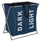 Wenko 3440022100 Wäschesammler Duo Blau - Wäschekorb, Fassungsvermögen 120 L, Kunststoff - Polyester, 59 x 57 x 38 cm, Blau