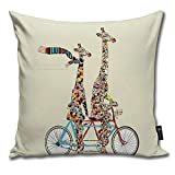 TopYYing Throw Pillow Cover Case for Bedroom Couch Sofa Home Decor Vintage Giraffes Days Lets Tandem Pattern Square 18x18 Inches