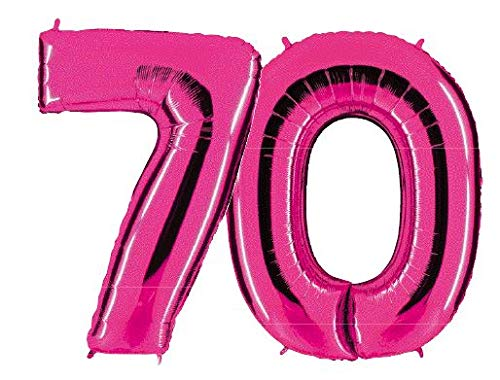 PartyMarty Globo Número 70en Rosa–XXL Gigante Número 100cm–para Aniversario & Co–Party Regalo de cumpleaños Decoración Globo Globo de Aire Happy
