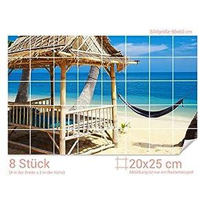 GRAZDesign Fliesenaufkleber Strand-Lounge/Meerblick Bad-Fliesen mit Fliesenbildern überkleben (Fliesenmaß: 20x25cm (BxH)//Bild: 90x60cm (BxH))