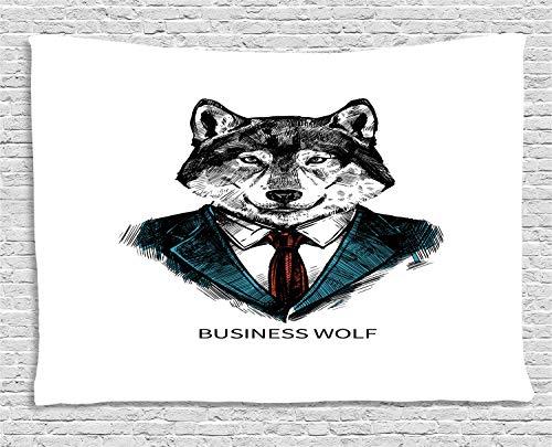 ABAKUHAUS Wolf Wandteppich, Business-Tier im Anzug, Wohnzimmer Schlafzimmer Heim Seidiges Satin Wandteppich, 200 x 150 cm, Zinnoberrot Schwarz Teal