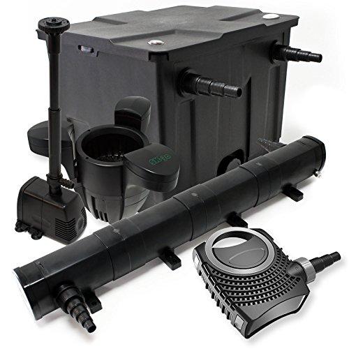 WilTec Kit de Filtration Bassin 12000l Stérilisateur UVC 72W 80W Pompe éco Fontaine Ecumeur
