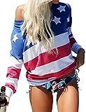 Nlife Frau Pentagram Print Amerika Flagge Top Kontrast Kragen Langarm T-Shirt