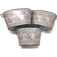 Boltze Home Collections magret macetas con Dos Asas de Metal Ovalado 3Unidades