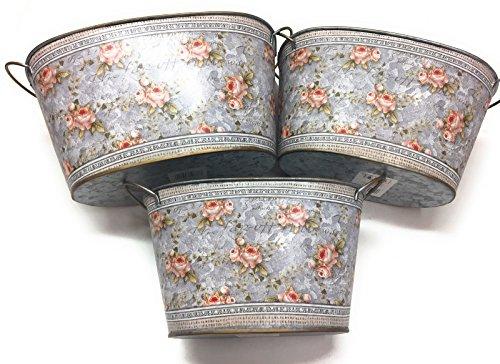 Boltze Home Collections Lot de 3 Pots de Fleurs ovales en métal avec 2 anses