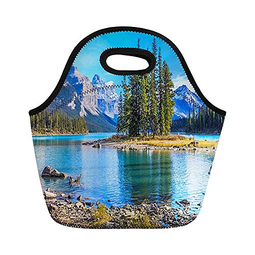 Spirit Island in Maligne Lake Jasper National Park Alberta Isolierte Neopren-Lunchttaschen für Frauen für Arbeit Erwachsene Männer Kinder Picknick Lunchbox Modern Lunch-Taschen -