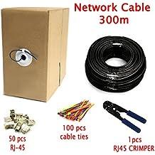 Multicable de red ethernet Cat7 premium de 300 metros, con conectores RJ45 - S/FTP 10 Gbps 600 MHz 24 AWG - Negro - 10 metros - conductores OFC