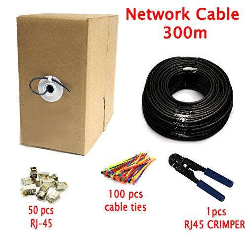 Multi Kabel Premium 300 meter Cat7 Ethernet Netzwerk kabel mit RJ45 Steckverbinder - UTP - Schwarz - 300m - OFC Leitern - mit Kabel Crimp Werkzeug + 100 Kabelbinder + 50 Kabelclips enthalten
