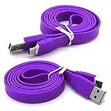 Huawei Honor 6 Höchste Qualität 1m superschnelles flaches Anti-Tangle-USB-Datenkabel - Ladekabel - Daten-Synchronisierungskabel - Datenübertragungskabel - Lila / Purple - Von Gadget Giant®