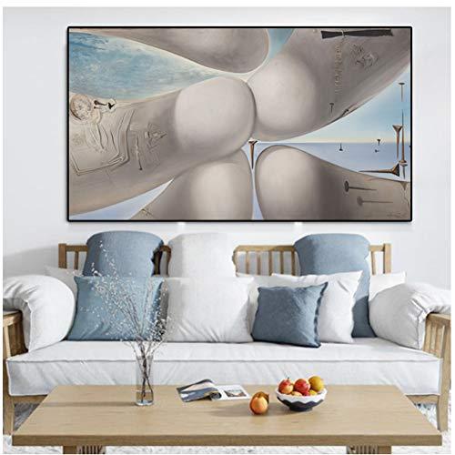 A&D Salvador Dali Gala VEGAP Barcelona Fantasie Finger Krieg Uhren Surreal Klassische Malerei Wandkunst Bilder für Wohnzimmer Cuadros-50x75 cm Kein Rahmen