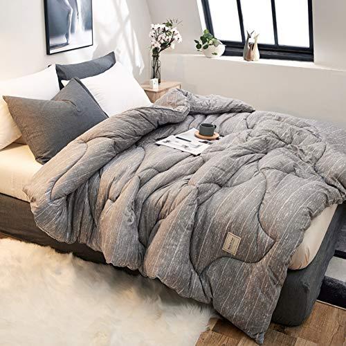 KELE Komfort-räume Bettbezug, Gans Bettdecken Bettdecken-Sets Genäht Geometrische Muster Atmungsaktive Verdickt Silikonisierte hohlfaser Steppdecken-B 150x200cm (Baumwolle Geometrische Tröster)