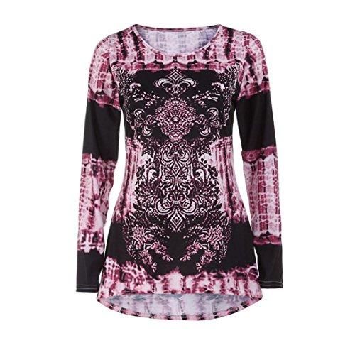 AmazingDays Chemisiers T-Shirts Tops Sweats Blouses,Femme Chemise à Manches Longues Décontractée Chemisier pink