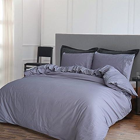 Merryfeel 2-3 teilige Bettwäsche Bettgarnitur, 100% Baumwolle gestickte Spitze Bettbezug