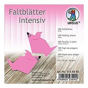 Ursus 3146862 - Hojas Plegables (100 Unidades, 65 g/m², 10 x 10 cm, para Artistas de Origami, teñidas), Color Rosa