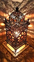 Vintage Moroccan Jewelled Table Light - Bronze Metal with Brown Acrylic Beads 43cm x 20cm Stunning Shadow Effect