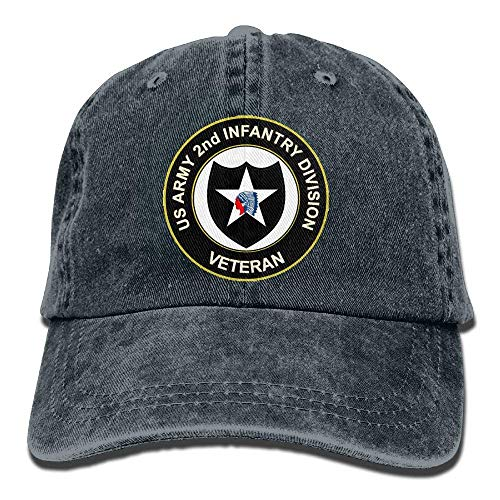 Hoswee Baseballmütze Hüte Kappe Army 2nd Infantry Division Plain Adjustable Cowboy Cap Denim Hat Women Men -