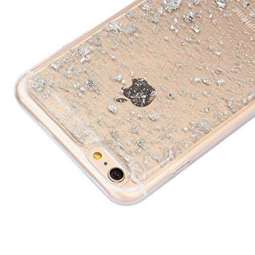 Copertura per 4.7 Apple iPhone 6/6s, MAOOY Flessibile Oro di Lusso Floreale Border Placcatura Back Cover in Gomma Morbida Trasparente Protettiva Custodia Brillantini Resistente ai Graffi Case per iPh Argento