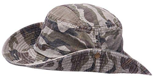 Hommes 100% Coton Chapeau de pêche avec cordes Boonie Bucket Pu Ceinture Chapeau Voyage Cap Outdoor Sun Hat (armée verte)