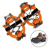 AOLVO Ice/Snow Grips Over Shoe/Boot Traction Cleat Gomma Spikes Antiscivolo 19-Stud ramponi Scarpe Slip-on Stretch, Walk tacchette per Inverno Outdoor Trekking Viaggio Orange XL