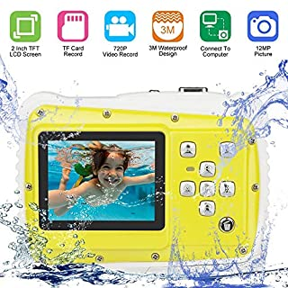 DIDSeth Kids Digital Camera, 8X Digital Zoom Underwater Camera 720P HD, 12M Pixel 3m Waterproof Camera with 2.0 inch LCD Screen Video Toy Camcorder for Sports Swimming Beaching