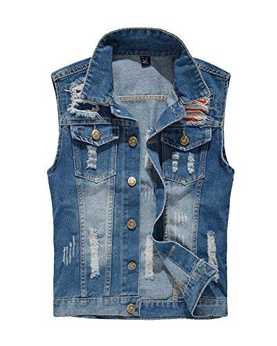 Herren Weste Ärmellose Jeansjacke Jeansweste Denim Slim Fit Jeans Weste Outwear Blau