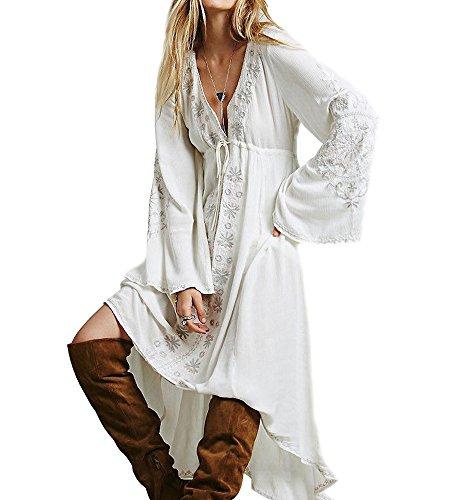 Damen Baumwolle Blumen Bestickt V-Ausschnitt Lange Ärmel Lange Kleider XL Weiß