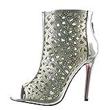 Angkorly - Damen Schuhe Stiefeletten Sandalen - Peep-Toe - Stiletto - Sexy - Strass - Multi-Zaum Stiletto high Heel 11 cm - Silber 988-52 T 40