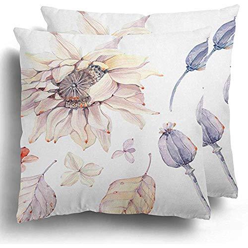 Federa per cuscino da fiori fiore arancione acquerello composizione autunnale estate floreale bohemien giallo girasole fodera per cuscino 45x45 cm