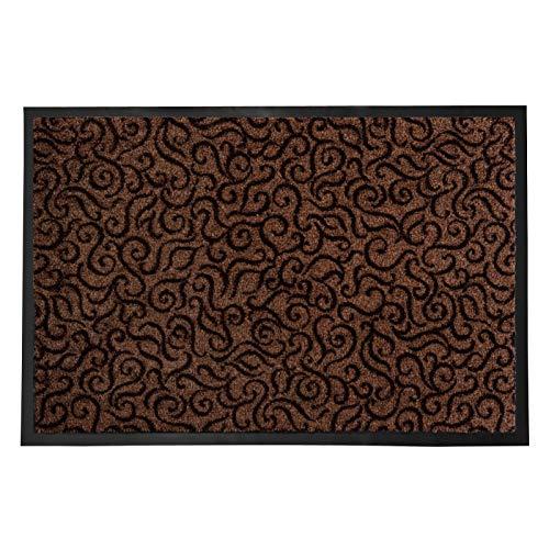 Schmutzfangmatte BRASIL für den Eingangsbereich | mit Ornament | rutschfest & flach | braun | 3 Größen (90x150cm)