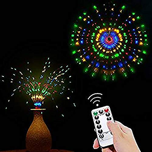 luces de cortina de ventana de LED Luces de decoración de cadena de cobre de hadas para interiores al aire libre, dormitorio,festival,Navidad,boda,Halloween, bricolaje, decoración,luz de techo LED (multicolor)