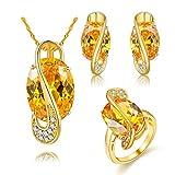 Uloveido Gold Kette Anhänger Halskette Gelb Crystal Stud Drop Ohrringe Große Oval Ringe Set für Mädchen (Gold, 59) Y183