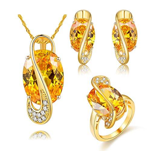 Uloveido 18K Gold Kette Anhänger Halskette Gelb Kristall Ohrstecker Ohrhänger Große ovale Ringe Set für Mädchen (Gold, Größe 59 (18.8) Y183