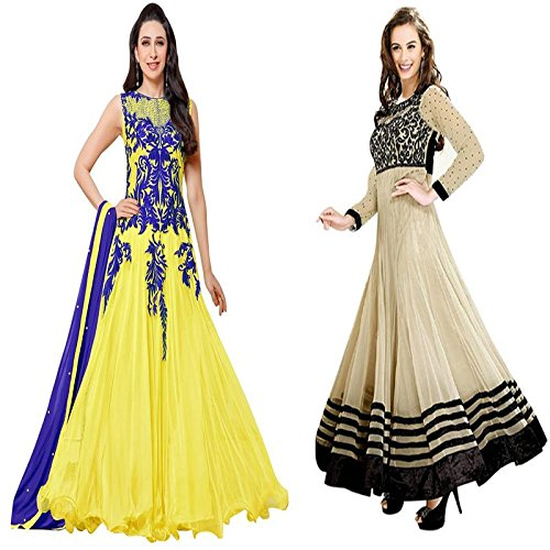 Z HOT FASHION Women's Embroidered Semi-stitched Anarkali Suit In Georgette And Net Fabric Combo 2 Pack (ZHECKL1001) Yellow And Cream  available at amazon for Rs.1299