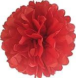 Matissa ', 25cm, 10Stück Seidenpapier-Bommeln, für Hochzeit, Party, Dekoration, Pom Pom aus über 20Farben zur Auswahl (Rot)