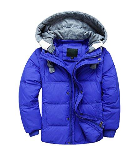 YoungSoul Kinder Daunenjacken Winterjacke mit abnehmbarer Kapuze für Jungen Mädchen Kinderweste Daunenweste warm Herbstjacken Wintermantel Saphir 5-6T/Körpergröße 110-120cm