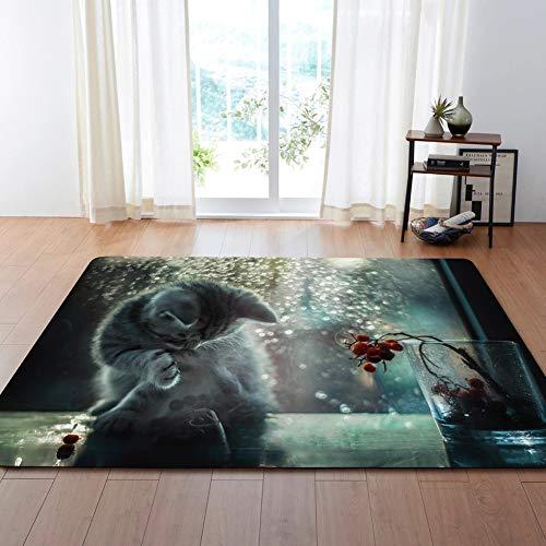 MATGHN Nette Katze Schlafzimmer Bereich Teppich Rutschfeste Indoor Outdoor Für Küche Flur Badezimmer Boden Vorne Fußmatte,G,200x150cm (Nette Teppichen Mit Küche)