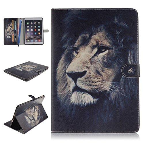 iPad Air 2 Funda,Careynoce Atrapasueños León Tigre Pattern Flip PU Cuero Carcasas Funda Case Cover para Apple iPad Air 2 iPad 6 (9.7 pulgada) - León