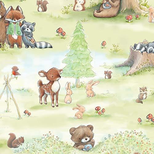 Timeless Treasures Tissus pour animaux de la forêt 100% coton par 0,5 m Vert
