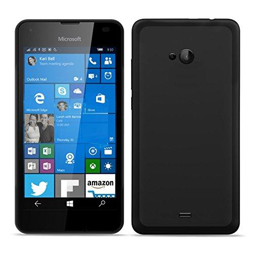 Conie Basic Cover kompatibel mit Microsoft Lumia 535, Silikon Rückschale mit Druckknöpfe & rutschfeste Oberfläche Schutzhülle in Schwarz
