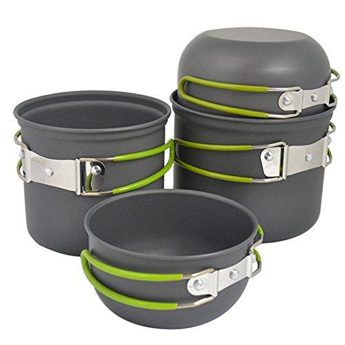 Asvert Camping Cookware Cooking Nonstick & Lightweight Aluminum Pots And Pans 4-Piece 1.3L, 1L, 0.7L, 0.5L Hiking Outdoors Cooking Equipment
