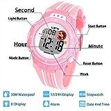 Kinder Digitaluhr,Jungen Mädchen Sport Armbanduhr Wasserdichte LED Multifunktions Armbanduhr für Kinder mit Alarm(Rosa)
