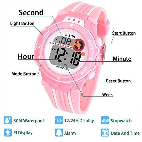 Reloj Digital para Niños Niña,Chicos Chicas Impermeable Deportes al Aire Libre LED Multifuncionales Relojes de Pulsera con Alarma para Niños,Niñas (Rosa)