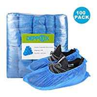 Disposable Shoe & Boot Covers Overshoes 3.5g CPE with Widen Elastic Band | Durable & Water Resistant | Anti-Slip Extra Thick, Protect Your Home Floors Blankets and Shoes Blue 100-pack