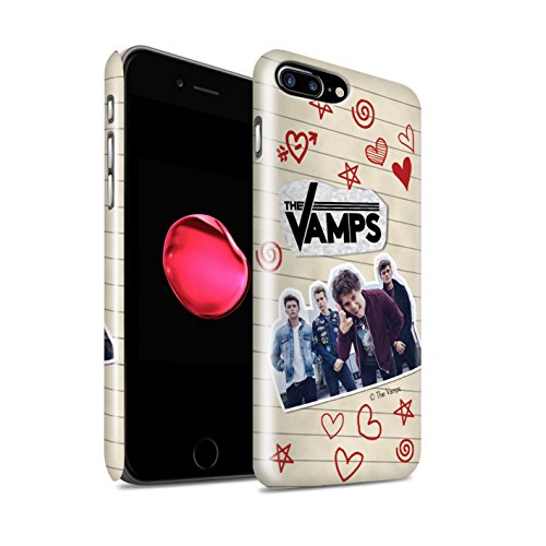 Offiziell The Vamps Hülle / Glanz Snap-On Case für Apple iPhone 7 Plus / Ausgeschnitten Muster / The Vamps Doodle Buch Kollektion Rot Stift