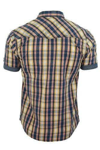 TOKYO LAUNDRY Herren Shirt 'Austin' Kariert Mit Chambray Ränder Kurzärmelig Koralle