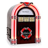 Ricatech RR340 Mini-Jukebox Stereoanlage MP3 Musikbox aus Holz (USB-SD-Slot, AUX, LED-Beleuchtung, MP§-CD-Player, Radio-Tuner) braun
