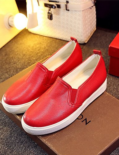 ZQ gyht Scarpe Donna - Mocassini - Tempo libero / Formale / Casual - Plateau / Creepers / Punta arrotondata - Plateau - Finta pelle -Nero / Rosso , red-us10.5 / eu42 / uk8.5 / cn43 , red-us10.5 / eu42 black-us6 / eu36 / uk4 / cn36