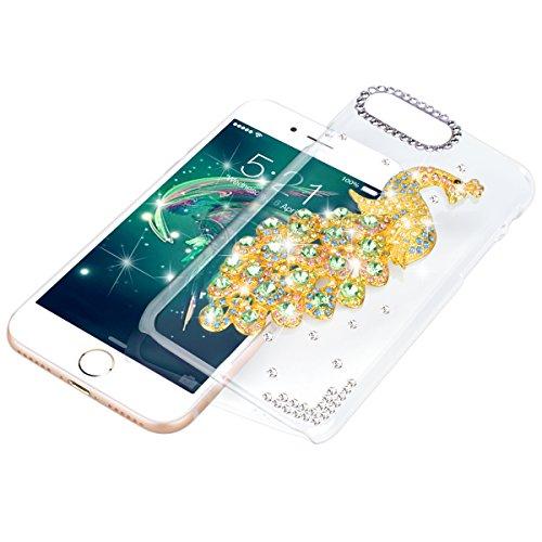 "WE LOVE CASE iPhone 7 4,7"" Hülle iPhone 7 4,7 Schutzhülle Handyhülle Im Lila Durchsichtig Transparent Crystal Clear Glitzer Funkeln Diamant Pfau Muster Handytasche Handycover PC Harte Case Anti-Scratc Grün"