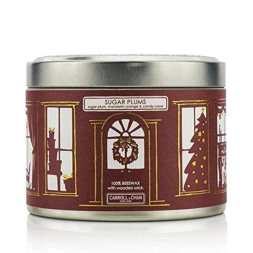 The Candle Company Tin Can 100% Beeswax Candle with Wooden Wick - Sugar Plums (Sugar Plum, Mandarin Orange & Candy Cane) (8x5) cm (Mandarin Candy Orange)